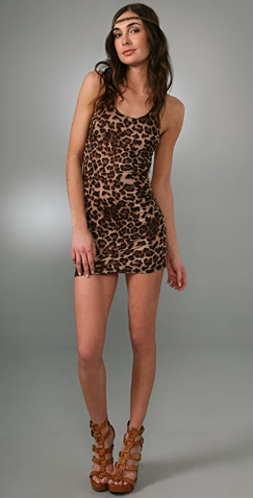 Torn by Ronny Kobo Alice Fuzzy Leopard Dress