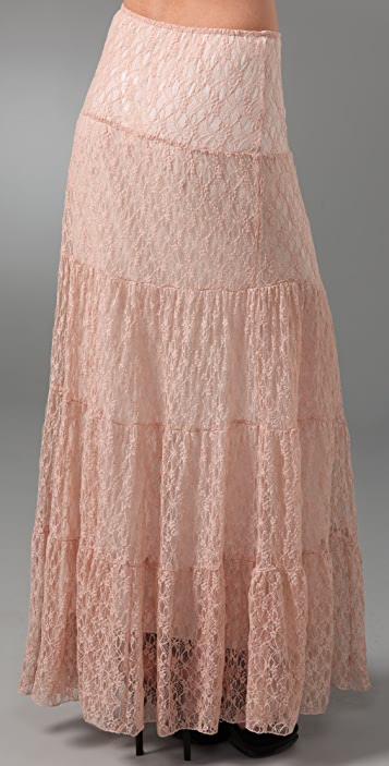 Torn by Ronny Kobo Peasant Lace Long Skirt