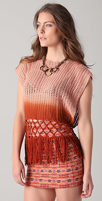 Torn by Ronny Kobo Monica Ombre Fringe Top