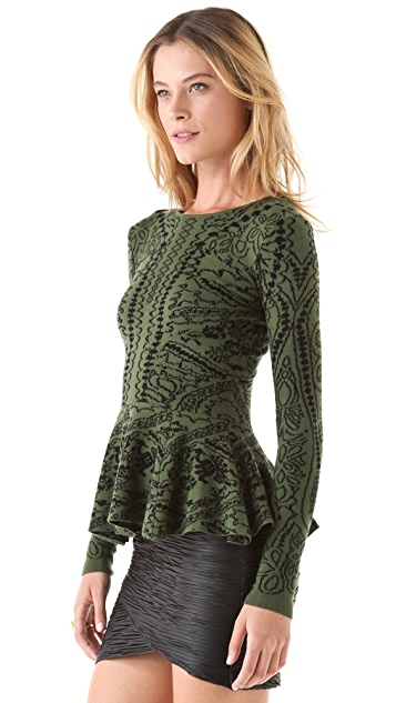 Torn by Ronny Kobo Natalie Royal Peplum Sweater