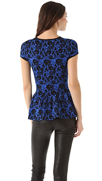 Torn by Ronny Kobo Vivienne Lace Peplum Top