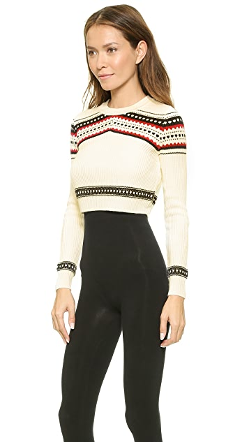 Torn by Ronny Kobo Zulma Cropped Fair Isle Sweater