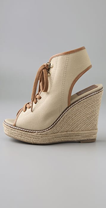 Tory Burch Lace Up Wedge Booties