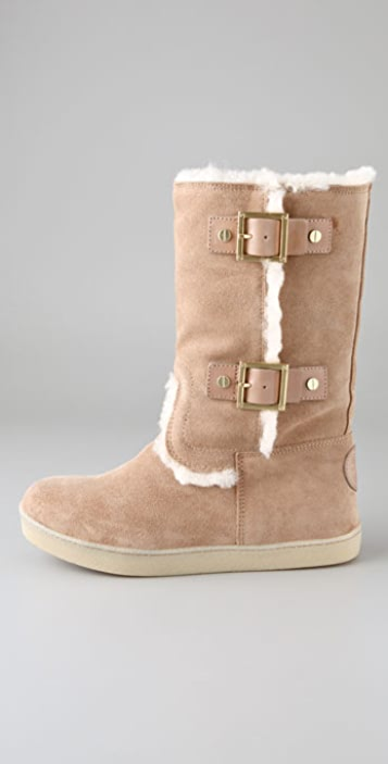 Tory Burch Shearling Boots with Buckles