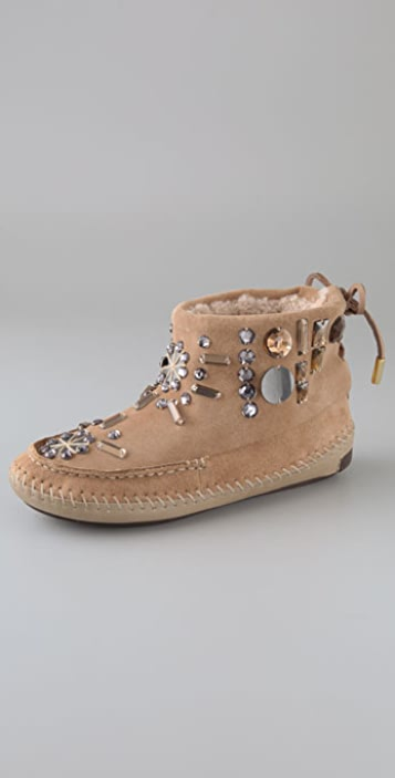 Tory Burch Embellished Suede Moccasin Booties