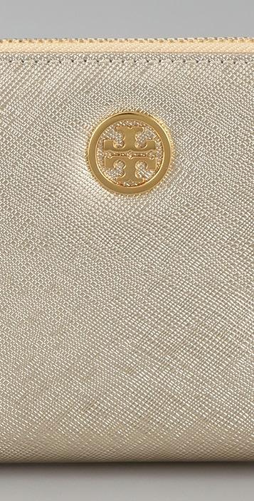 Tory Burch Metallic Saffiano Zip Continental Wallet