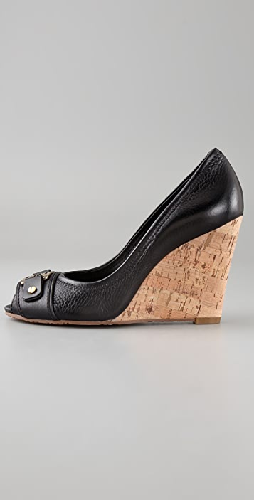 Tory Burch Carnell Open Toe Cork Wedges