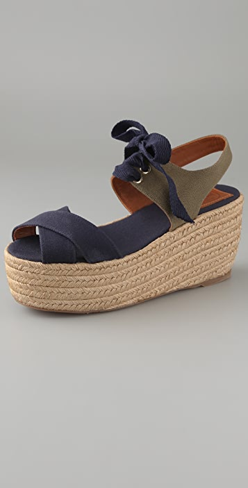 Tory Burch Contrast Canvas Wedge Espadrilles