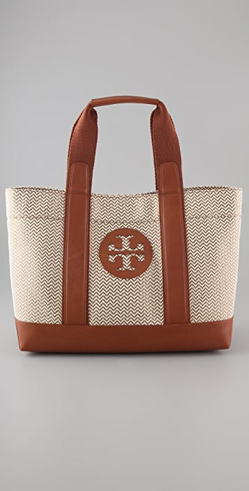 Tory Burch Beach Patterned Straw Tote