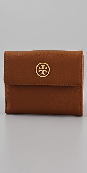 Tory Burch Saffiano Robinson Double Snap Wallet