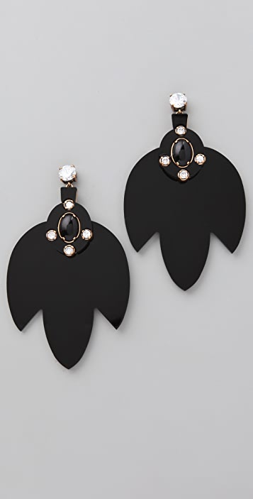Tory Burch Multi Jeweled Leaf Dangle Earrings