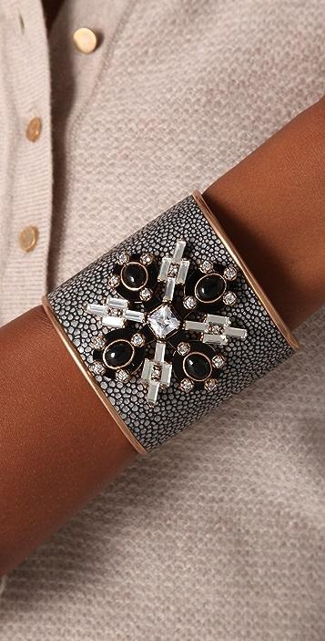 Tory Burch Multi Jeweled Leather Cuff
