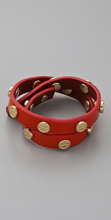 Tory Burch Tory Double Wrap Patent Logo Bracelet