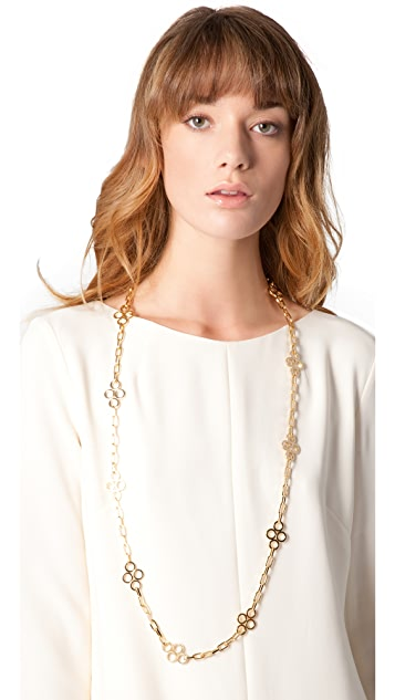 Tory Burch Large Clover Necklace