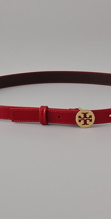Tory Burch Skinny Patent Logo Belt