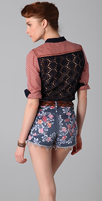 Tory Burch Mora Blouse with Crochet Back