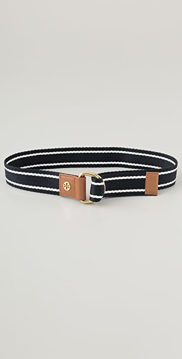 Tory Burch Striped Webbing Belt