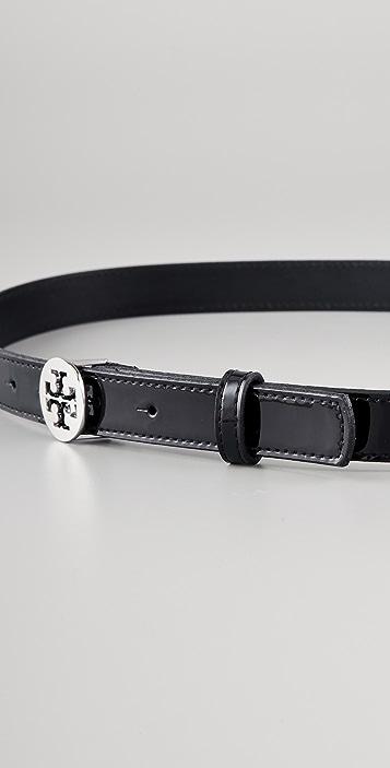 Tory Burch Skinny Patent Tory Logo Belt