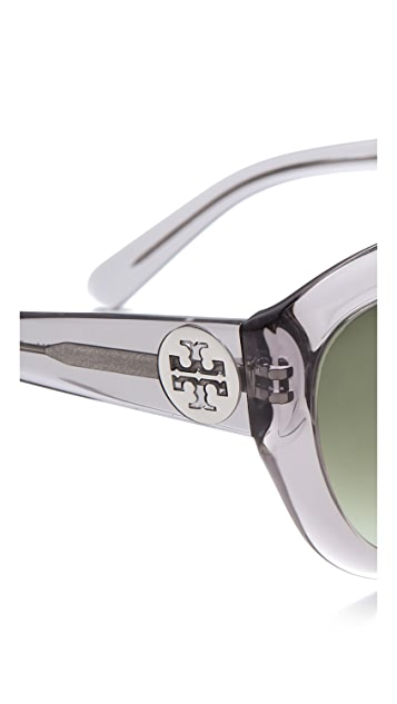 Tory Burch Rounded T Logo Sunglasses