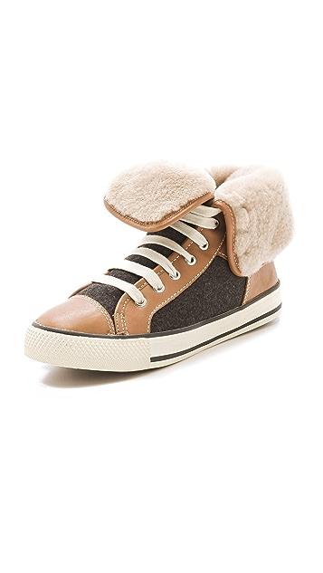 Tory Burch Benjamin Shearling Sneakers