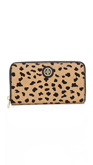 Tory Burch Robinson Haircalf Zip Continental Wallet
