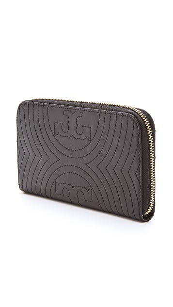 Tory Burch Stitched Logo Zip Continental Wallet