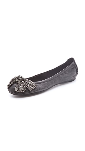 71e4e538586e Tory Burch Eddie Flats with Detailed Bow