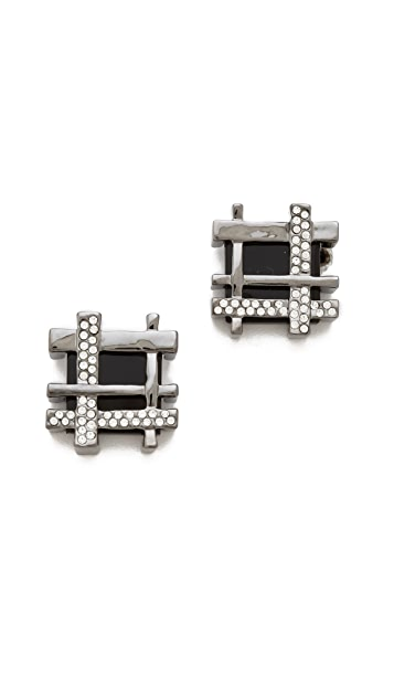 Tory Burch Gingham Pave Earrings