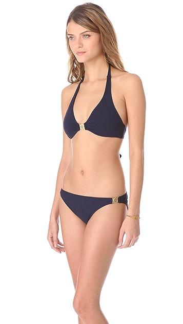 Tory Burch Logo Halter Bikini Top