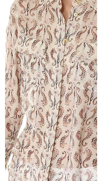 Tory Burch Seahorse Print Evelyn Shirt