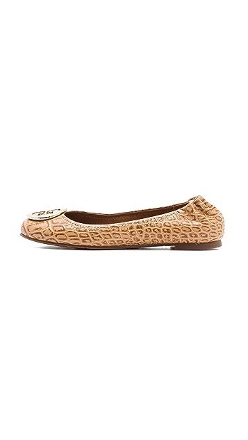 101d161b2bbb ... Tory Burch Reva Croc Ballet Flats ...