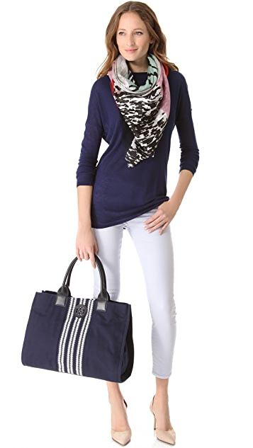 Tory Burch Center Stripe Ella Tote