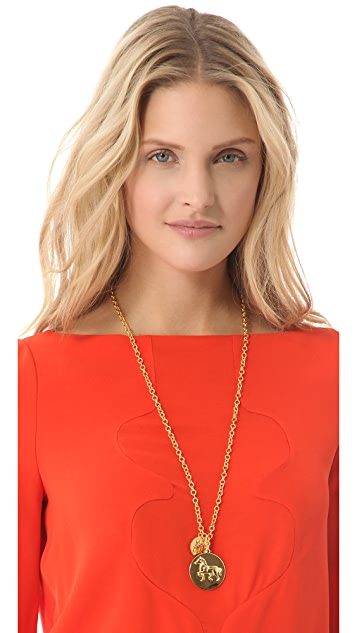 Tory Burch Buddy Long Cluster Necklace
