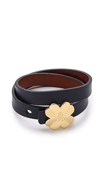 Tory Burch Reversible Leather Shawn Bracelet