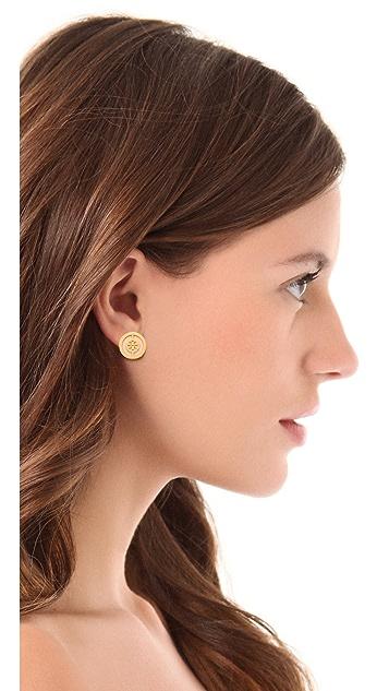 Tory Burch Deco Logo Stud Earrings