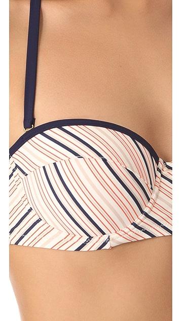 Tory Burch Roger Stripe Havana Bikini Top