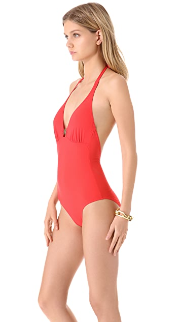 Tory Burch Logo One Piece Swimsuit