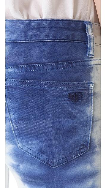 Tory Burch Frayed Hem Tie Dye Jeans