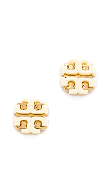 Tory Burch Enamel Large T Logo Stud Earrings
