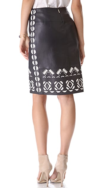 Tory Burch Brianna Leather Skirt
