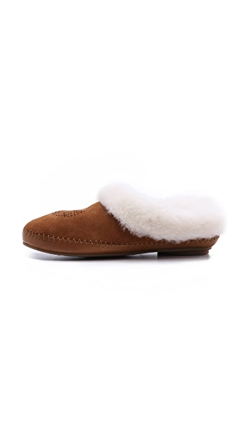 Tory Burch Coley Suede Shearling Lined Slippers