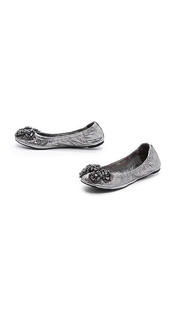 Tory Burch Azalea Metallic Elastic Ballet Flats