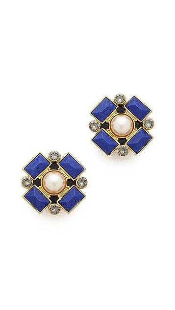 Tory Burch Delphine Clip On Button Earrings