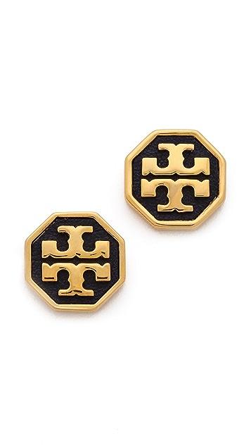 Tory Burch Sylbie Logo Leather Earrings