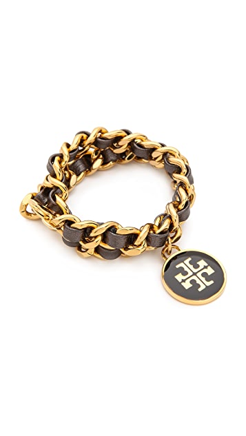 Tory Burch Metallic Leather & Chain Double Wrap Bracelet