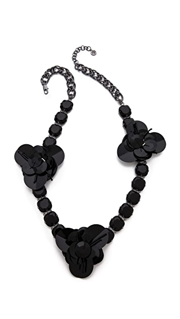 Tory Burch Sequin Stone Flower Necklace