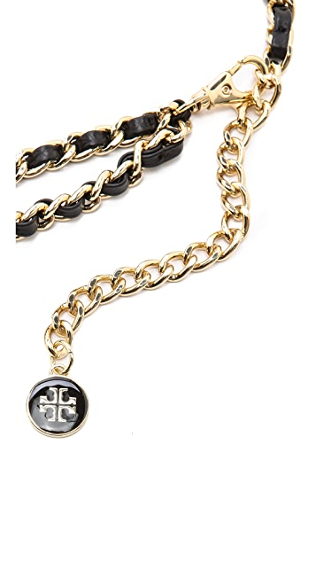 Tory Burch Leather & Chain Belt