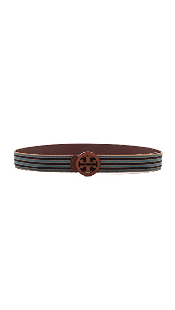 Tory Burch Striped Reversible Logo Belt