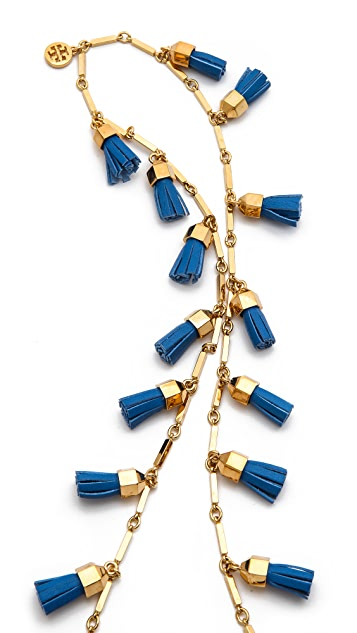 Tory Burch Leather Tassel Paillette Necklace