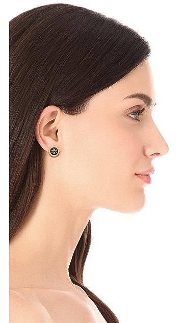 Tory Burch Logo Enamel Stud Earrings
